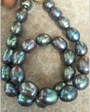 "stnning 12-13mm tahitian baroque black green grey  pearl necklace 18""14k"