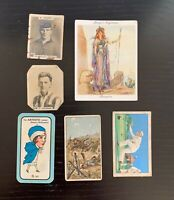 Lot of 6 c. 1920s Tobacco/Cigarette Cards - War Incidents, Nose Game, Champions+