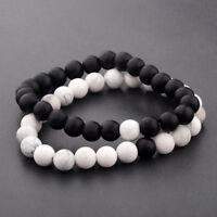 Women Men's 8mm Natural Stone Agate Beaded Charm Yoga Couples Charm Bracelets