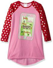 Komar Kids Girls' Big Holiday Print Jersey Nightgown, Red WiFi, Pink, Small
