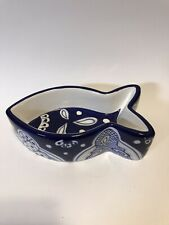 Fish Shaped Ceramic Dish For Cats, retired Blue and White
