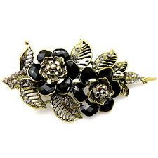 """Large 4.5"""" Black Gold Vintage Style Pelican Beak Duck Hair Jaw Claw Concord Clip"""