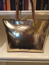 TORY BURCH METALIC PERFORATED SMALL TOTE GOLD LEATHER NWT