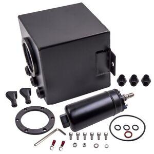 2L Black Aluminum Fuel Surge Pot Tank AN6 With External High Flow 044 Fuel Pump