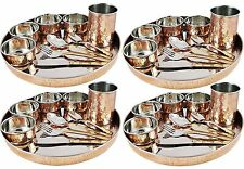 Indian Dinnerware Set Of 4 Origina-Stainless-Steel-Copper-Traditional Dinner Set