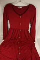 Long Maxi VotePretty Red Dress Button Up Women's Size S Small