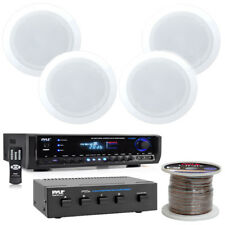 """5.25"""" 150W Speakers, PT390BTU Digital Stereo Receiver, 4 Channel Selector & Wire"""