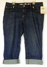 NEW NWT Dickies Slim Fit Stretch Denim Cropped Jeans w/ Flap Back Pockets 14