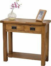 Cotswold Solid Oak Wood 2 Drawer Console Table Unit Hallway Living Furniture