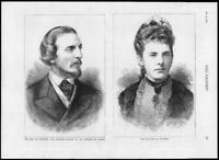 1878 - Antique Print PORTRAIT Canada Earl Countess Dufferin Governor  (014)