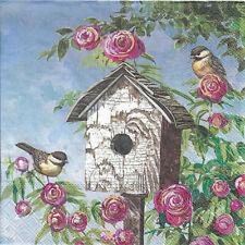 Lot de 4 Serviettes en papier Nichoir Oiseau Roses Decoupage Collage Decopatch