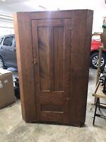 Primitive Corner Cabinet  Rustic Cupboard Farmhouse Handmade Antique Heavy Rare