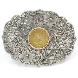 US 1913 INDIAN HEAD $10 DOLLAR GOLD EAGLE COIN w/ STERLING BELT BUCKLE #J2666-4