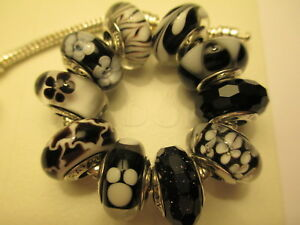 10 Pandora Silver 925 Ale Black White Disney Mickey Zebra Flower CZ Beads Charms