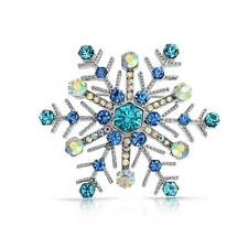 Bling Jewelry Blue Sapphire Crystal Christmas Snowflake Brooch Pin