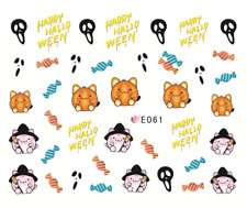 Nail Art Stickers Water Transfers Decals Happy Halloween (E061)