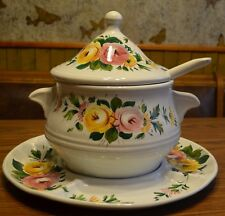 VTG. Italy Soup Tureen w/Lid Ladle & 4 divided sec plate Hand Painted Italy NICE