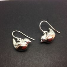Robin solid Sterling Silver drop earrings, bird, Christmas, gift pouch. New.
