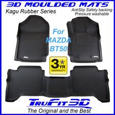 Suits Mazda BT50 Dual Crew Cab 2012 - 2019 - 3D Black Rubber Car Floor Mats