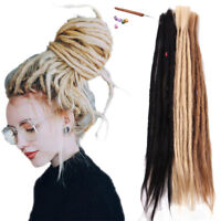 "20"" Handmade Dreadlocks Extensions 100% Real Human Hair 5 PACKS Full Head Locks"