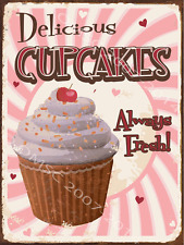 Delicious Cupcakes Metal Sign, Retro Diner Decor, Kitchen Decor