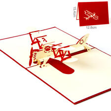 Airplane 3D card laser cut pop up blank holiday greeting cards gift post car Rk