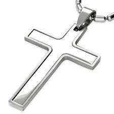 Pendentif homme acier Zense ZP0043 croix latine acier brillant et acier brossé