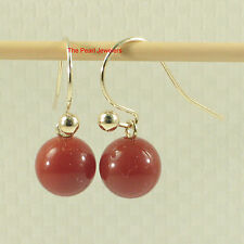 14k Yellow Solid Gold Fish Hook Gold Ball Dangle Red Carnelian Earrings TPJ