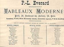 PARIS GALERIE EVERARD EXPOSITION TABLEAUX MODERNES PUBLICITE 1878