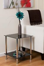 2-Tier Black Glass Display Rack/Side End Table. Dimensions: 39x39x47(H)cm-GR09B