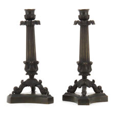 Pair of Neoclassical Charles X Style Patinated Bronze Candlesticks