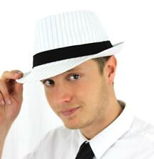 GANGSTER TRILBY HAT WHITE WITH BLACK BAND 1920`S FANCY DRESS COSTUME ACCESSORY