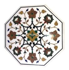 2' White Marble Coffee Table Top Mosaic Carnelian Floral Inlay Home Decors W071