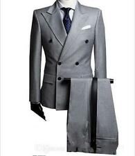 Light Gray Groom Tuxedo Double-Breasted Men Wedding Suits Formal Best Men Suits