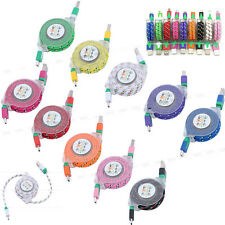 Colorful Retractable Braided Micro USB 2.0 Data Charger Cable For Samsung HTC LG