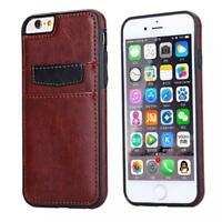 IPHONE 6 6S - BROWN LEATHER CASE LUXURY WALLET COVER w TWO CREDIT CARD ID SLOTS