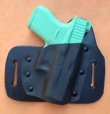 Leather/kydex hybrid OWB beltslide holster for Glock. 43