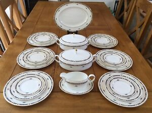 Coalport Dinner Service For Six Sherbourne White Blue And Gold Swags IMMACULATE