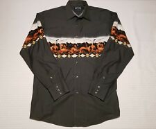 Panhandle Slim Western Pearl Snap Button Shirt Large Horses Aztec Pattern