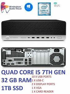 FAST QUAD CORE i5 7th Gen HP EliteDesk 800 G3 PC Core i5-7500 32GB Ram 1TB SSD