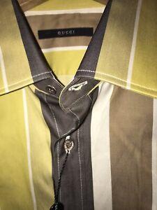 New Authentic Gucci Mens Striped Dress Shirt Slim 17/43.
