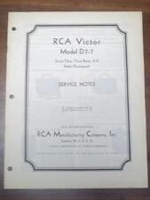 Vtg RCA Victor Service Manual for the D7-7 Radio-Phongraph~1935~Original