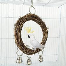 Bird Parrot Rattan Swing Ring Hanging Pet Parakeet Budgie Cockatiel Cage Toys