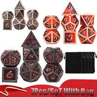 New 7Pcs/set Vintage Bronze Metal Polyhedral Dice DND RPG MTG Role Playing Game