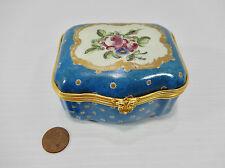 Antique Sevres? Decorated Porcelain Hinged & Lidded Trinket Box. Gilded Hardware
