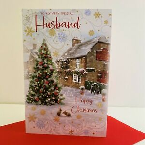 Cherry Orchard Very Special Husband Happy Christmas Card Traditional Pub/XN789