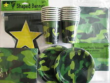 ARMY / CAMY CAMO Party Supply Set Pack Kit for 16 w/ Banner