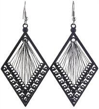 T1357 Black&Silver Thread Earrings Rhombus Hook Fashion Girl/Lady Dangle Jewelry
