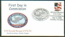 2003 USS RONALD REAGAN CVN-76 Navy Commission Day FDC