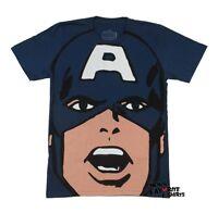 Captain America Face Big Print Marvel Comics Licensed Adult T-Shirt